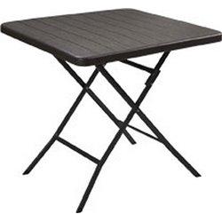 TABLE WOOD DOMUS HDPE BROWN/STEEL CM 78X78 H. CM 74