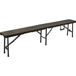 BENCH WOOD DOMUS HDPE BROWN/STEEL CM 180X25 H. CM 43