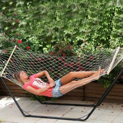 HAMMOCK SINGLE NETWORK WITH AXIS WOOD CM.80X200 FOR THE GARDEN