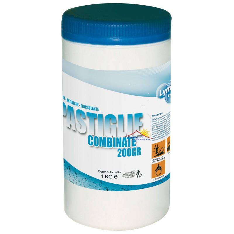 Cloro multifunzione in pastiglie da 200 gr per piscina kg 1 for Cloro liquido per piscine