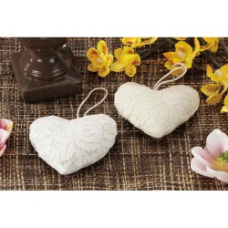 HEART LACE COTTON CM.10X10 SUITABLE AS A WEDDING FAVOR PLACEHOLDER