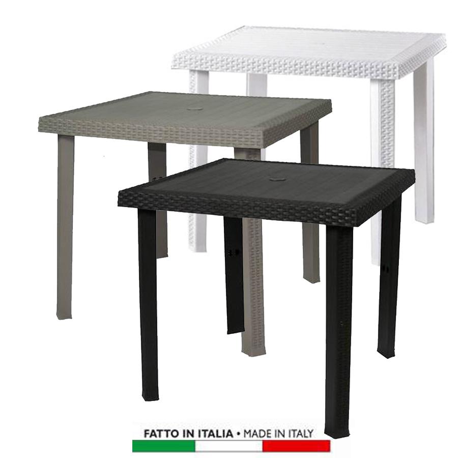 Tavolo plastica giardino simil rattan figaro - Tavolo plastica esterno ...